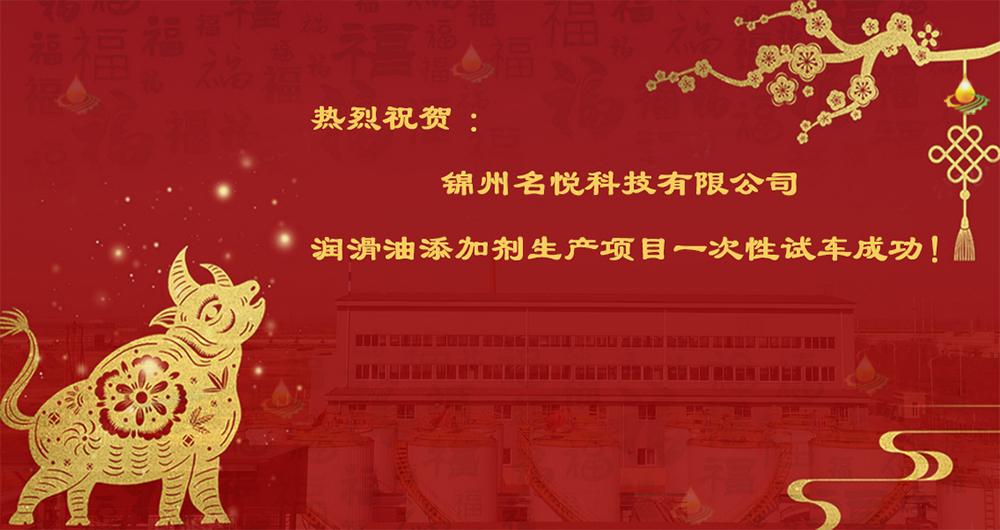 热烈祝贺锦州名悦科技有限公司润滑油添加剂生产项目一次性试车成功!